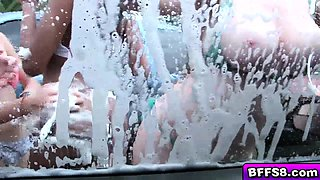 Awesome car wash orgy with the teen cheerleaders