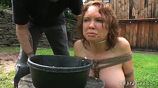 Poor bounded chick is humiliated and forced to eat hot and smelly food