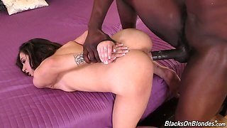 Petite white chick Lily Jordan goes wild on hard and massive black pole