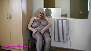 sallys perfect mature body in a fishnet body stocking