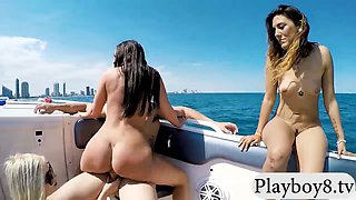 Hot college teens in bikini hot groupsex on speedboat