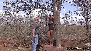 hot chocolade big natural breast african babe fucked at my wild safari tour