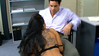 Raven haired leggy secretary Roxy Jezel gets fucked by her horny boss in the office