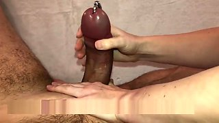 HOT WAX Handjob - Fat Pierced Cock - Prince Albert - Cum out of Piercing!