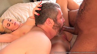 blond wife creampied by black cock and her husband eat