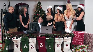 Monique Alexander and Ava Addams enjoy a festive orgy