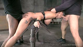 Restrained busty slut Syren De Mer had hard BDSM 3 some with Matt Williams and Jack Hammer