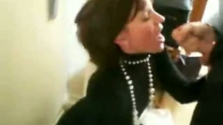 My spoiled secretary gets on her knees and gives me an amazing blowjob