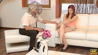 Natural beautiful redhead Vanessa masturbates her fresh pussy in front of old man