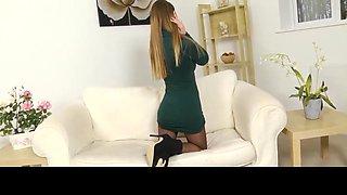 Girl in sheer black pantyhose at home
