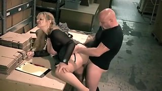 Granny Boss fucks employee after work
