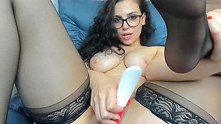 Hot brunette stockings webcam show 2