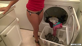 Latina Washing Clothes And Showing Off Her Titties