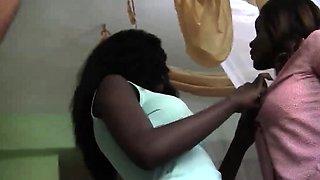 Naughty African ladies having fun in the bedroom as they