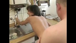 Russian mom kitchen quickie