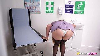 Lusty UK nurse in sexy uniform Stephanie Bonham Carter exposes her butt