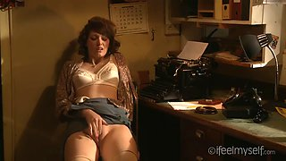 Secretary charlotte v rubs one out in the office