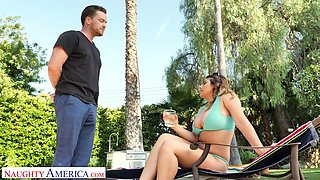 Full natural juggy chick in bikini Ella Knox is fucked hard by the poolside