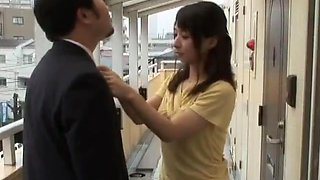 Cute housewife Yuuka Osawa has creampie sex with a neighbor.
