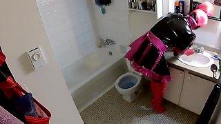 Sissy toilet tied