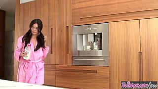 Shyla Jennings makes a mess with the milk in the kitchen - Twistys