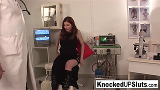 Knocked up redhead sucks and fucks in the doctor&#39s offic
