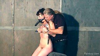 Misused tattooed brunette sex slave gets abused real hard