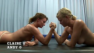 Claire vs Andy Hardcore Naked Lesbian Wrestling