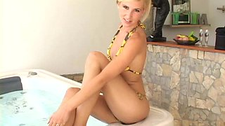 Barbie Face Blonde in Bikini Masturbates her Tight Pussy In the Jacuzzi