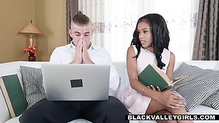 smashing a tiny ebony's soft pussy while girlfriend is out
