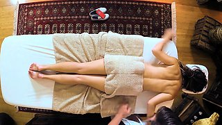 Cheating girlfriend massaged and pussyfucked