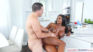 Black oiled up mistress with juicy shapes Diamond Jackson had steamy fuck at kitchen