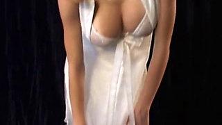 Teen bride with big tits in erotic scene