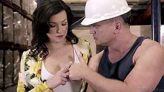 Lewd big breasted brunette secretary Danica Dillon gonna suck delicious dick