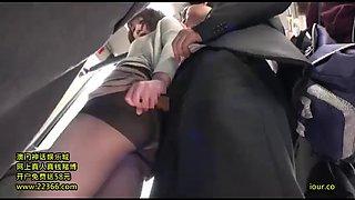 Pantyhose bus grope
