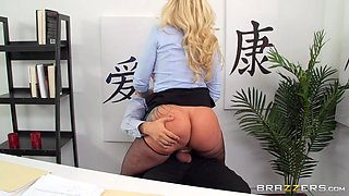 naughty blonde office worker rides big dick