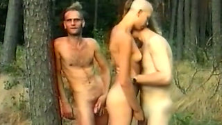 Skinny and tall punk girl with two horny men in the forest