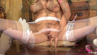 Nude bride in sexy lingerie and white stockings plays with her slit