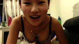 Gorgeous Thai girl with perky titties sucks and fucks in POV