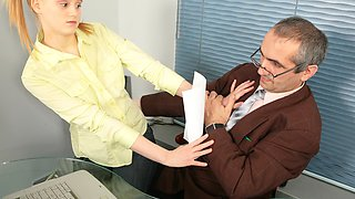 Hot blonde schoolgirl gets tricked by her teacher