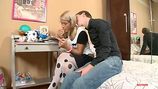 Stepbrother fucks teen hs sister while studying!