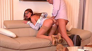 Kitana Lure gets bent over and penetrated hard on the couch