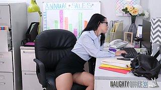 Naughty big breasted nerdy brunette secretary Katrina Jade rides dick well