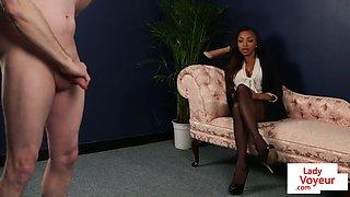 Black cfnm brit instructs sub on how to jerk
