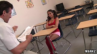 This teacher keeps Lizz Tayler after class and bangs her on his desk