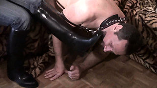 Femdom bitches order slaves to lick their boots clean