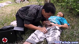 Asian doctor sucks cock in the twin air