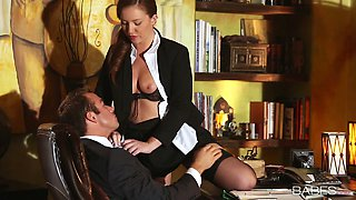 Neat office slut Maddy O'Reilly lets her boss fondle her tits and pussy