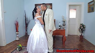 submissive bride gets fucked and jizzed on