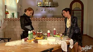 horny lesbians eating pussy in the kitchen